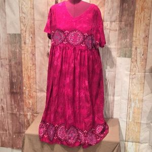 3X 100% Cotton Pink Mandala Maxi Dress  P179